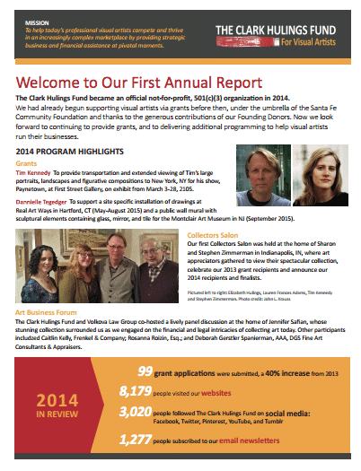 annual report financial art funding
