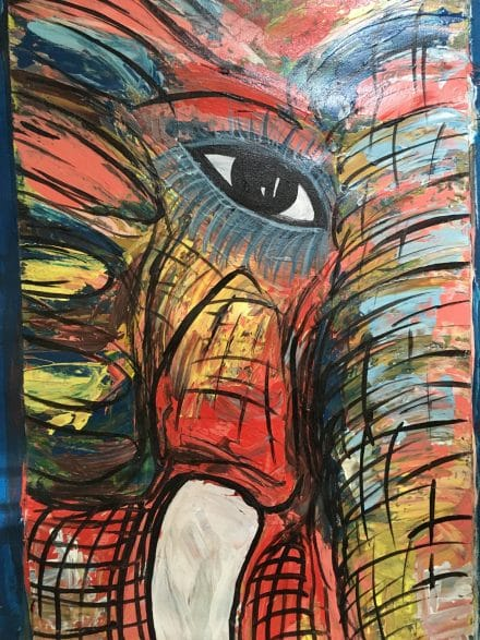 The elephant painting that Dance commissioned while she was in Uganda
