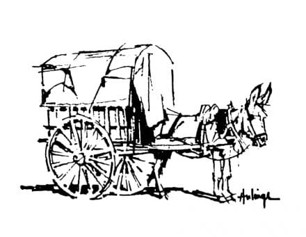 Donkey and cart logo by Clark Hulings