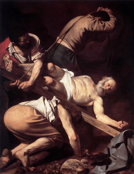 Crucifixion of St Peter by Michelangelo Merisi da Caravaggio