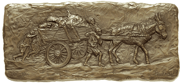 Helping to Push - Bas-Relief