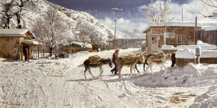 Hulings painting of donkeys working in the snow Chimayo, New Mexico