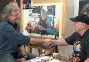 Artist Barry McCain and Colour in Your Life Producer Graeme Stevenson collaborate in the studio.