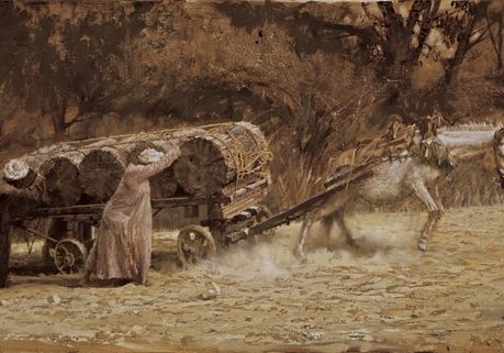 Burros Pulling Logs At Aswan, Clark Hulings