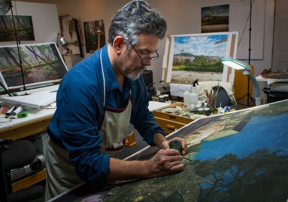 Jonathan Keeton Painting In His Studio