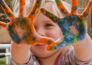 Girl Painting with Hands—Disruptors Only