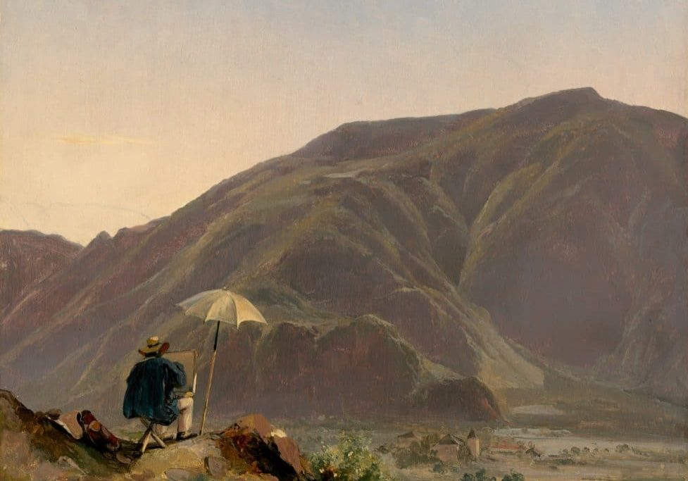 View of Bozen with a Painter, by Jules Coignet